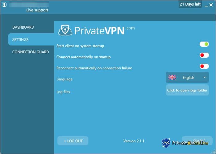 Podešavanja PrivateVPN