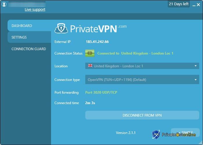 VPN je povezan u naprednim podešavanjima