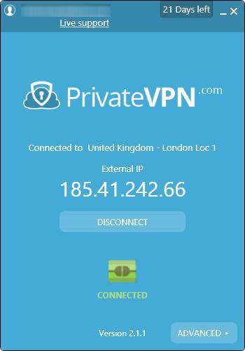 PrivateVPN je povezan