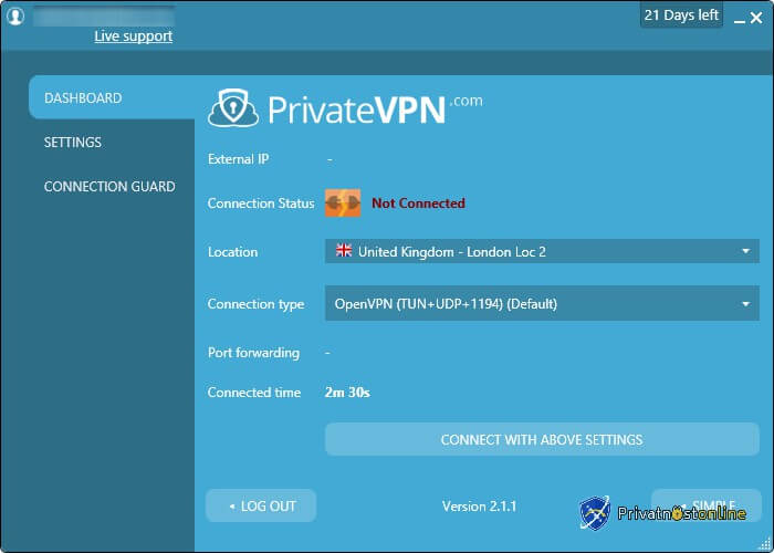 VPN je isključen u naprednim podešavanjima